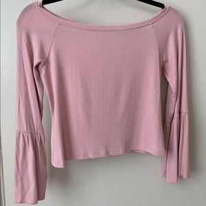 Topshop - Pink Bell Sleeve Ribbed Top - Worn Once!
